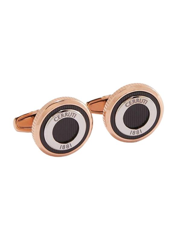 Cerruti 1881 Men's Cufflinks, Stainless Steel, with Brass Plate, Rose Gold/Black