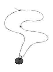 Police Pontevedra Stainless Steel Charm Necklace for Men, Silver