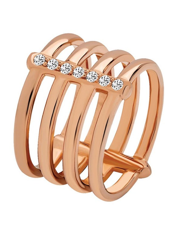 Cerruti 1881 Stainless Steel Stacking Ring for Women with Stones, Rose Gold, EU 54