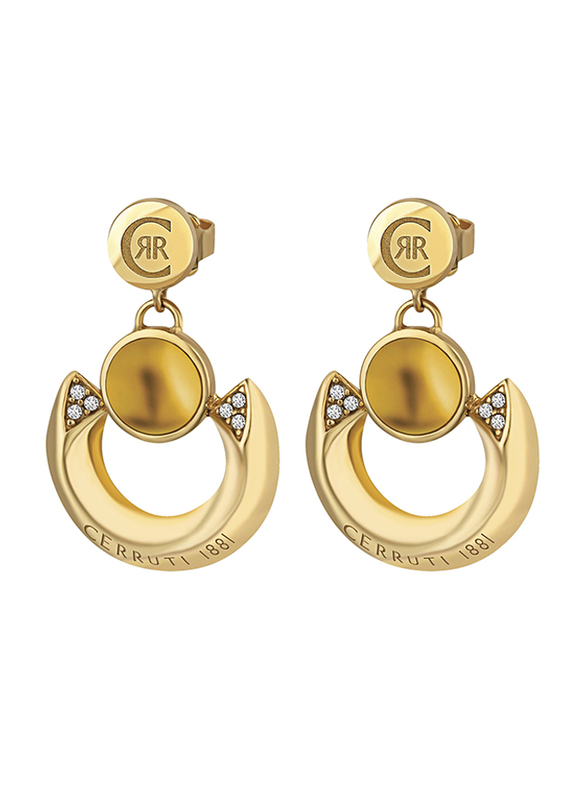 Cerruti 1881 Gold Plated Drop & Dangle Earrings for Women with Beads Stone, Gold