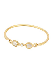 Cerruti 1881 Gold Plated Stainless Steel Bangle Bracelet for Women with White Mother of Pearl and Swarovski Stones, Gold