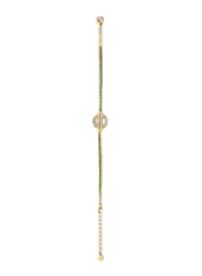 Cerruti 1881 Gold Plated Stainless Steel Chain Bracelet for Women with Green Cord and Diamond Stone, Gold/Green