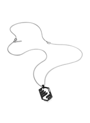Police Newtown Stainless Steel Pendant Necklace for Men, Black