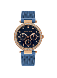 Police Mikkeli Analog Metal Watch for Women, Water Resistant, Blue, P 15891MYR-03MMBL
