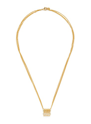 Cerruti 1881 Gold Plated Stainless Steel Triple Chain Necklace for Women with Diamond Stone Vertical Pendant, Gold