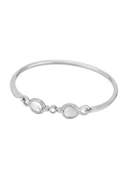 Cerruti 1881 Stainless Steel Bangle Bracelet for Women with White Mother of Pearl and Swarovski Stones, Silver