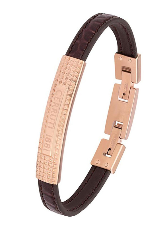 Cerruti 1881 Leather Ion Bracelet for Men, Rose Gold & Brown