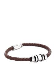 Police Trucker Metal Magnet Wristband Bracelet for Men, Brown