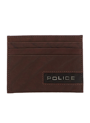 Police Droid Leather Card Case for Men, Brown