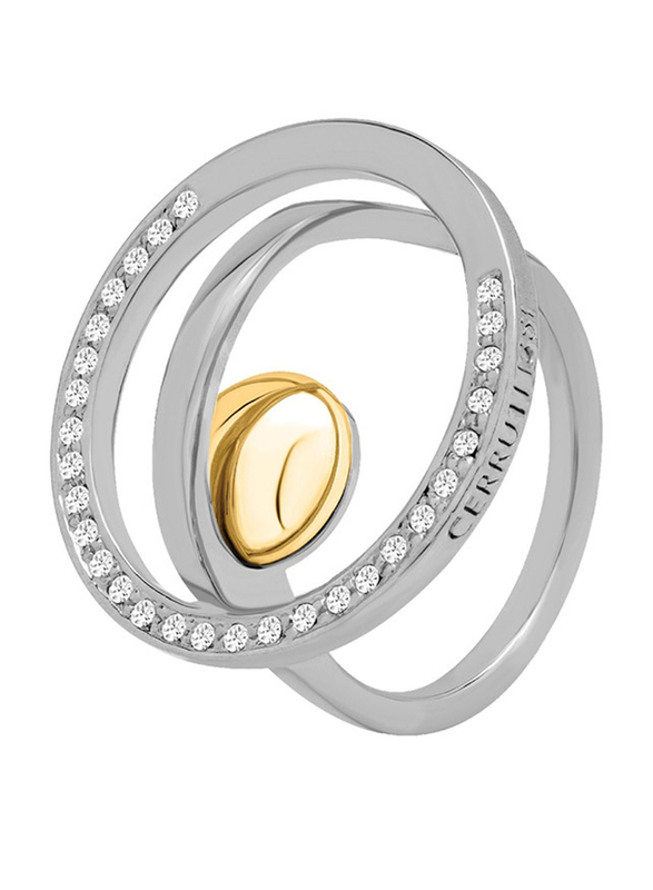 Cerruti 1881 Stainless Steel Fashion Ring for Women with Gold Plated Metal Bead Stone, Silver, EU 56