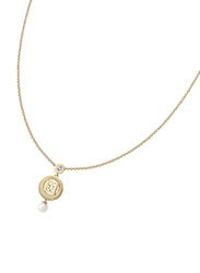 Escada Gold Plated 925 Sterling Silver Necklace for Women with Zircon Stone and Ceramic Pearl Pendant, Gold