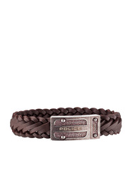 Police Centaur Leather Braided Bracelet for Men, Gun Brown