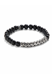 Police Niebul Metal Beaded Bracelet for Men, Black