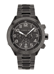 Cerruti 1881 Ledro Analog Watch for Men with Stainless Steel Band, Water Resistant and Chronograph, C CRWA27011, Black