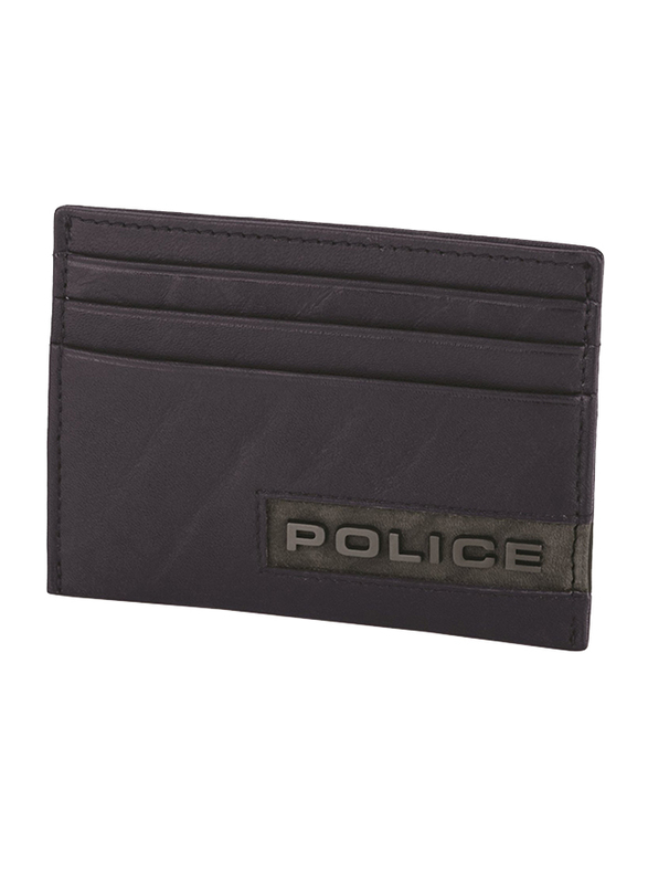 Police Droid Leather Card Case for Men, Blue