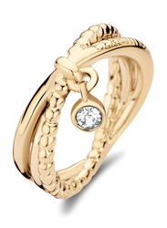 Cerruti 1881 Gold Plated Stainless Steel Fashion Ring for Women with Dongle and Diamond Stone, Gold, EU 52