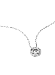 Police Trundle Stainless Steel Charm Necklace for Women, Silver