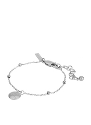 Police Adjustable Chain Closure Metal Chain Bracelet for Women, Rhodium