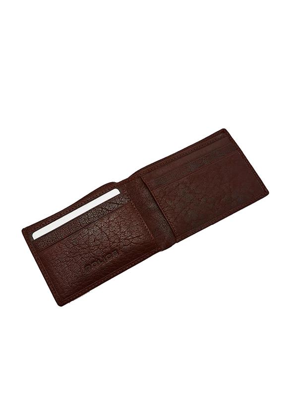 Police Burly Slim Leather Bi-Fold Wallet for Men, Brown