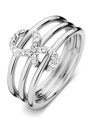 Cerruti 1881 Stainless Steel Stacking Ring for Women with Infinity Motif, Silver, EU 56