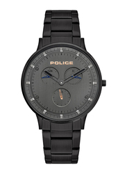 Police Berkeley Analog Watch for Men with Stainless Steel Band, Water Resistant with Chronograph, P 15968JSM, Black