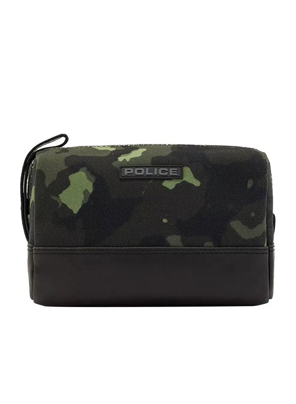 Police Tolerance Leather Toiletry Pouch for Men, Green Camouflage