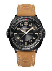 Timberland Williston Quartz Analog Watch for Men with Leather Band, Water Resistant, T TBL15516JSB-02, Tan-Black