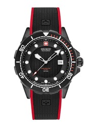 Swiss Military Hanowa Neptune Diver Analog Watch for Men with Silicone Band, Water Resistant, W S6-4315.13.007, Black
