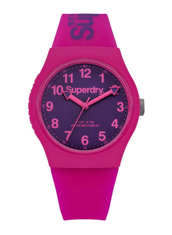 Superdry Urban Analog Unisex Watch with Silicone Strap, Water Resistant, T SDWSYG164, Pink-Purple