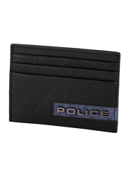 Police Droid Leather Card Case for Men, Black