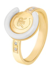 Cerruti 1881 Gold Plated Stainless Steel Fashion Ring for Women with White Ceramic CRR Logo, Gold, EU 56