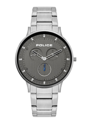 Police Berkeley Analog Watch for Men with Stainless Steel Band, Water Resistant with Chronograph, P 15968JSM, Silver-Black