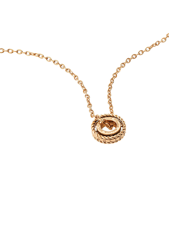 Police Trundle Stainless Steel Charm Necklace for Women, Rose Gold
