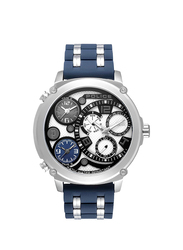 Police Sagano Analog Silicone Watch for Men, Water Resistant, Blue-Silver, P 15659JS-04P