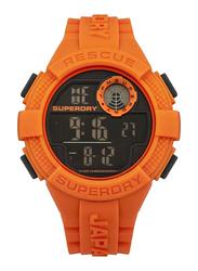 Superdry Radar Digital Watch for Men with Rubber Band, Water Resistant, T SDWSYG193O, Orange-Black