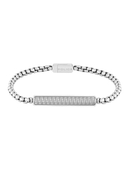 Police Gansu Metal Chain Bracelet for Men, Silver