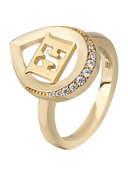 Escada Gold Plated 925 Sterling Silver Fashion Ring for Women with Zircon Stones, Gold, EU 56