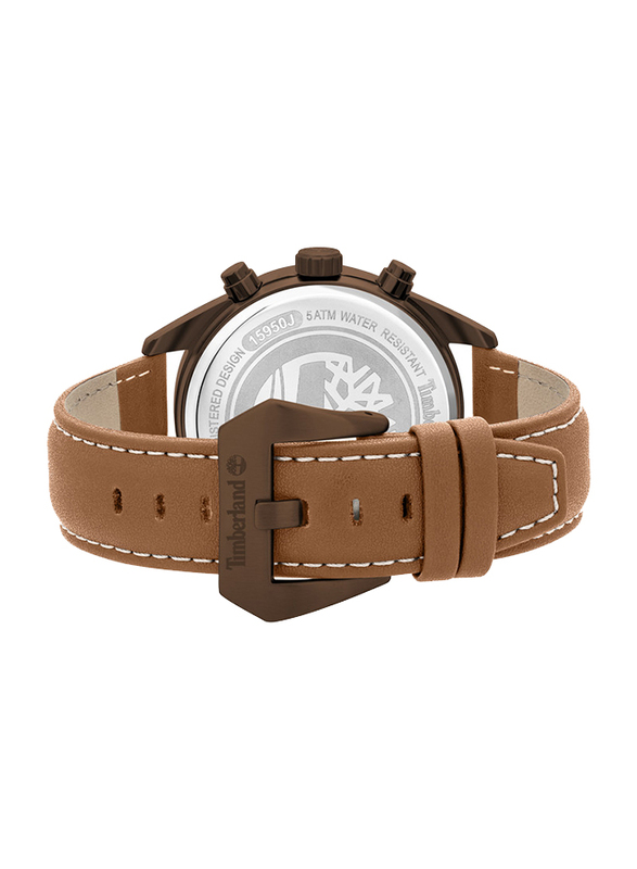 Timberland Thurlow Solar Watch for Men with Leather Band, Water Resistant and Chronograph, T TBL15950JYMK-02, Tan-Black