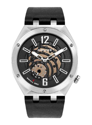 Police Gobustan Analog Watch for Men with Leather Genuine Band, Water Resistant, P 16010JSTU-02, Black