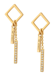 Cerruti 1881 Gold Plated Stainless Steel Double Pendant Dangle Earrings for Women with Diamonds Stone, Gold