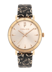 Police Ponta Analog Watch for Women with Floral Leather Band, Water Resistant, P 16033MS, Black-Rose Gold