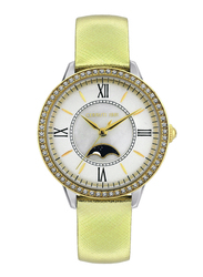 Cerruti 1881 Rosara Analog Watch for Women with Leather Band, Water Resistant, C CRWM225, Gold-White