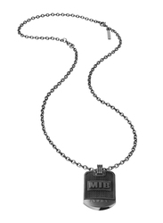 Police Onset Stainless Steel Pendant Necklace for Men, Black