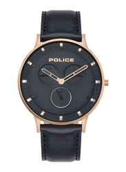 Police Berkeley Analog Watch for Men with Leather Band, Water Resistant and Chronograph, P 15968JSR-03, Black