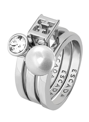Escada Pearl Stone Fashion Ring for Women, Rhodium,  EU 52