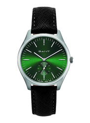 Gant Sevenhill Analog Leather Genuine Watch for Men, Water Resistant with Chronograph, Black-Green, G GWW062003