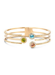Cerruti 1881 Gold Plated Stainless Steel Bangle Bracelet for Women with Tri Color Diamond Stone, Gold