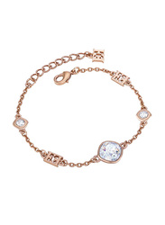 Escada Metal Charm Bracelet with Swarovski Stone for Women, Rose Gold
