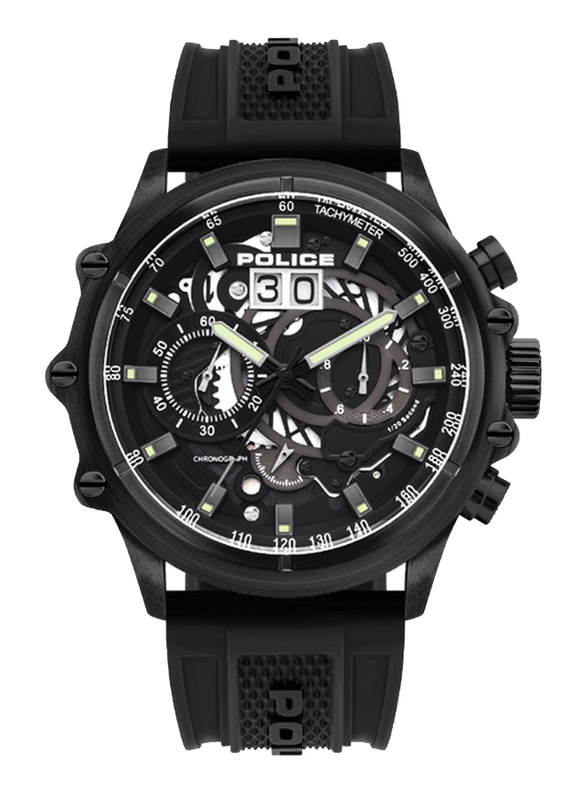Police Luang Analog Watch for Men with Silicone Band, Water Resistant with Chronograph, P 16018JSB-02P, Black