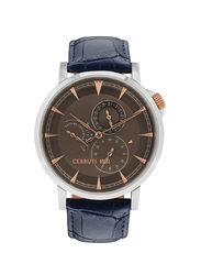 Cerruti 1881 Caiano Leather Watch for Men, Water Resistant with Chronograph, Blue-Grey, C CRWA24906